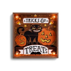 Pre-Lit Square Tricks and Treats Wall Plaque