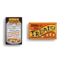 Halloween Candy Corn Wall Plaque, Set of 2