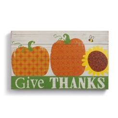Pumpkins Give Thanks Harvest Wall Plaque