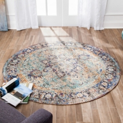 Blue Distressed Haza Round Area Rug, 8 ft.