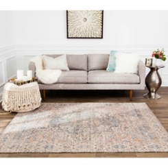Blue Distressed Damien Area Rug, 5x7