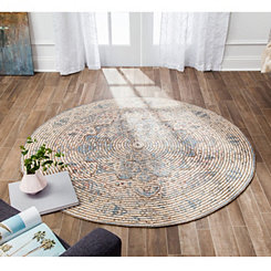Blue Distressed Damien Round Area Rug 6 Ft