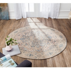 Blue Distressed Damien Round Area Rug, 8 ft.