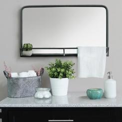 Mason Metal Mirror with Shelf, 24x14 in.