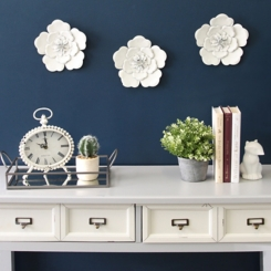 White Metal Flower Wall Plaques, Set of 3