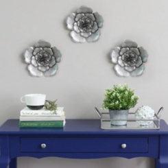 Silver Metal Flower Wall Plaques, Set of 3