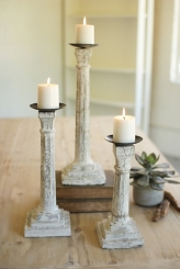 White Cement Candle Holders, Set of 3