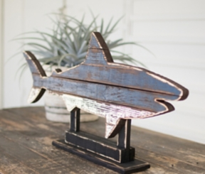 Recycled Wooden Painted Shark on Stand