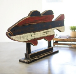 Recycled Wooden Painted Fish on Stand