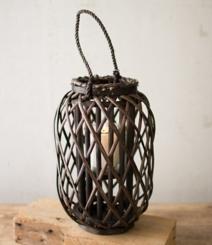 Small Willow Lantern with Glass Pillar