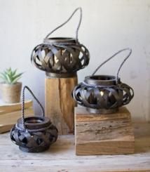 Dark Brown Chipwood Willow Lantern, Set of 3