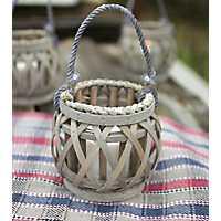Gray Willow Votive Lantern with Glass Pillar