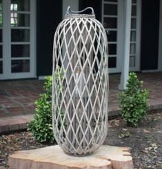 Small Gray Willow Lantern with Glass Pillar