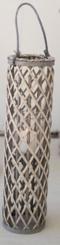 Gray Willow Lantern with Glass Pillar