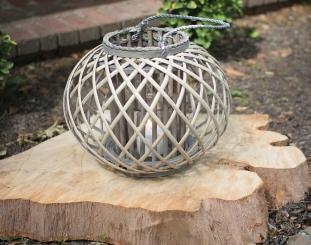 Round Gray Willow Lantern with Glass Pillar