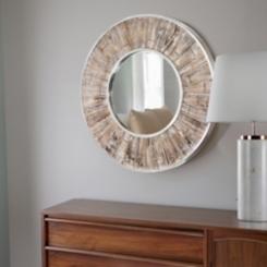 Round White-Washed Wood Mirror