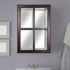 Multi-Tone Windowpane Mirror with Storage Shelves