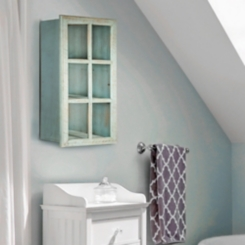 Teal Windowpane Mirror with Storage Shelves