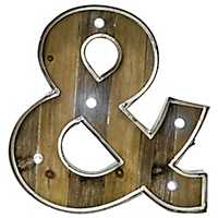 Wood and Metal Marquee Ampersand Plaque