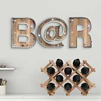 Wood and Metal Marquee Monogram Plaques