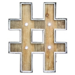 Wood and Metal Marquee Hashtag Plaque