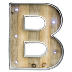 Wood and Metal Marquee Monogram B Plaque