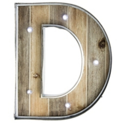 Wood and Metal Marquee Monogram D Plaque