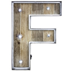 Wood and Metal Marquee Monogram F Plaque