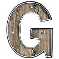 Wood and Metal Marquee Monogram G Plaque