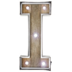 Wood and Metal Marquee Monogram I Plaque