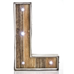 Wood and Metal Marquee Monogram L Plaque
