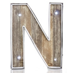 Wood and Metal Marquee Monogram N Plaque
