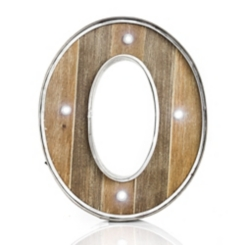 Wood and Metal Marquee Monogram O Plaque
