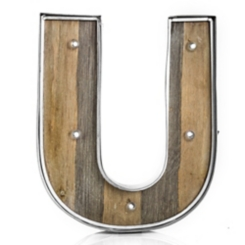 Wood and Metal Marquee Monogram U Plaque