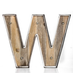 Wood and Metal Marquee Monogram W Plaque