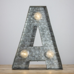 Galvanized Metal Marquee Monogram A Plaque