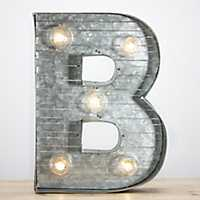 Galvanized Metal Marquee Monogram B Plaque