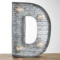 Galvanized Metal Marquee Monogram D Plaque