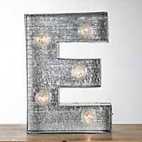Galvanized Metal Marquee Monogram E Plaque