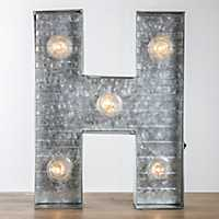 Galvanized Metal Marquee Monogram H Plaque