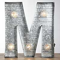 Galvanized Metal Marquee Monogram M Plaque