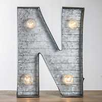 Galvanized Metal Marquee Monogram N Plaque