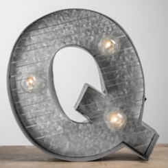 Galvanized Metal Marquee Monogram Q Plaque