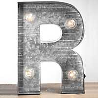 Galvanized Metal Marquee Monogram R Plaque