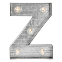 Galvanized Metal Marquee Monogram Z Plaque