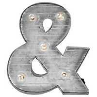Galvanized Metal Marquee Ampersand Plaque