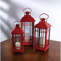 Red Metal Lanterns with Handles, Set of 3