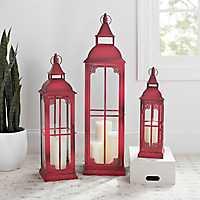 Vintage Red Metal Lanterns, Set of 3