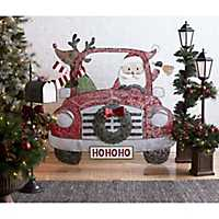 Santa and Reindeer in Car Metal Christmas Stake