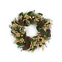 Pine and Gold Berry Christmas Wreath